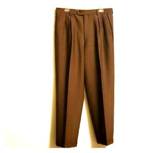 Pronto Uomo, Brown Wool Cuffed Pants, Size 33/30